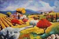 Hot sale!100% handpainted refreshing farm landscrape oil painting