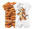 Retail: boy short sleeve romper baby cotton bodysuits jumpsuits cartoon tiger bodysuits