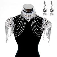 Fashion bride chain accessories rhinestone shoulder strap lace bride wedding dress necklace diamond crystal shoulder strap