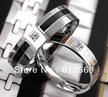 D145 Titanium Lover Couple Rings Stainless Metal Women Man Dual wedding Rings Black Endless Love Size 5~10