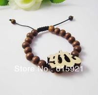 Hip-hop Style Wooden Rosary +Allah Adjustable Size Bracelet,Good Wood, Best Gift GW-031