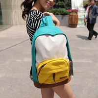 Free ship NEW personality color block patchwork canvas small fresh backpack student school bag travel backpack