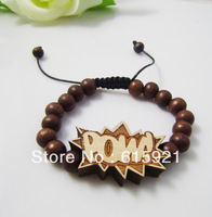 Hip-hop Style Wooden Rosary +POW Adjustable Size Bracelet,Good Wood, Best Gift GW-032