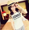 fashion new casual letter print  t shirt women cotton lady Leopard sleeve  t shirts
