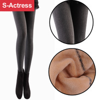 legging warmer double layer plus velvet thickening autumn and winter heather grey pants woment plus size  tights