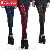 Female gold velvet high waist plus size lengthen legging all-match slim boot cut jeans spring and autumn