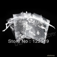 250pcs White Organza Butterfly Gift Bags 7x9cm Wedding Favours Free P&P