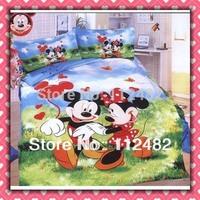 Free Shipping Cartoon Cotton children 3pcs Bedding Set Mickey minnie Mouse Kids