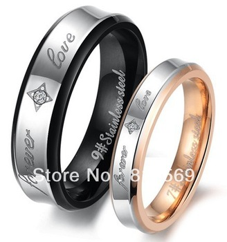D283 Titanium Lover Couple Rings Stainless Metal Women Man wedding Rings Shiny Black Forever Love Size 5~10