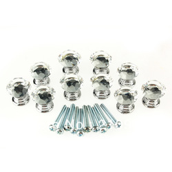 Free Shipping 10 Pcs/bag 20mm Crystal Glass Clear Cabinet Knob Drawer Pull Handle Kitchen Door Wardrobe Hardware(China (Mainland))