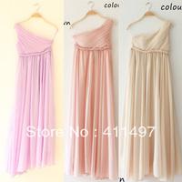 High quality summer wedding bridemaid maxi dress pink,purple,champange one shoulder Plus size party evening  dresses