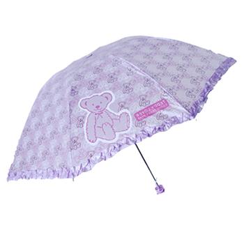 Manual umbrella pearl cloth bear ultra-light sun protection umbrella sun umbrella anti-uv child umbrella
