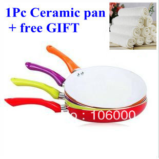 freeshipping   1 pcs ceramic pan frying pan 26cm red purple orange green colors for choose with 1 free gift