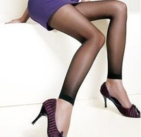 Single plus crotch ultra-thin meat Core-spun Yarn ankle length trousers coverspun yarn stockings black