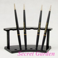 4 Black Pen Cosmetic Brush Display Stand Holder For 6 Pcs