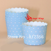 200pcs/lot Free Shipping Blue With White Spots Baking Cups,mini baking cups ,paper baking cupcake,over 100 styles for choose