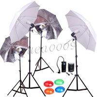 Godox 4 * S45T Photo Studio Strobe Light AC Slave Flash Bulb with Umbrella Kit