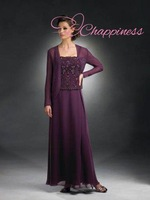 Free Shipping New Arrivals A Line Mother Of The Bride Dresses With Jacket Chiffon Purple Dresses