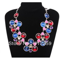 New Arrival Fashion 1PC /Lot Silver Chain Round Resin Rhinestones Bib Pendant Necklace  321011