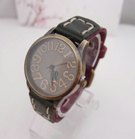 2013-4-859c Genuine Cow leather wrist watch wholesale fashion double colors wrist watch men women ladies  588-533