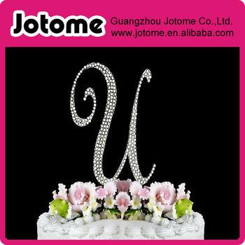 Free shipping Letter U - Crystal Monogram Letter Wedding rhinestone  Cake Topper