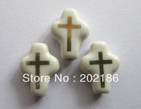 Hand Painted Porcelain Beads 50pcs Handcrafted Loose   Ceramic beads/Cross