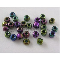 8/0 Glass Seed Beads,  Iris Round,  Peacock Blue,  Iabout 3mm in diameter,  hole: 0.8mm,  about 10000pcs/bag