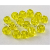 6/0 Glass Seed Beads,  Transparent Colours,  Golden,  about 4mm in diameter,  hole: 1mm,  about 4500pcs/pound