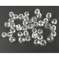 8/0 Glass Seed Beads,  Transparent Colours Round Hole,  Trans. Clear,  about 3mm in diameter,  hole: 0.8mm