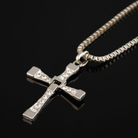 "freeshipping 2pc/lot  THE FAST and The FURIOUS Dominic Toretto's CROSS PENDANT 26"" Chain Necklace chb"