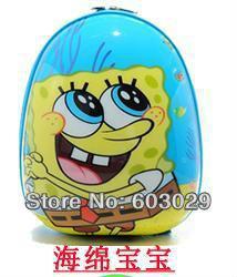 free shipping 12inch ABS child bag kids kindergarten back pack egg-shape casual bag Spongebob(China (Mainland))