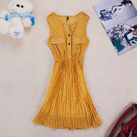 Summer women's chiffon one-piece dress handmade pleated skirt tank dress