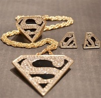 hotsale letter S triangle rhinestone superman ring stud earrings and necklace Jewelry Sets BJ447