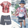 Korean style 3 pieces complete sets for the children shirt + t-shirt + pants boys summer sets children's suits in high quality