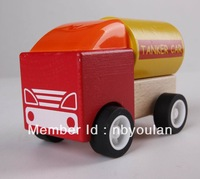 Free Shipping Baby toy wooden car  Eco-Friendly Wooden assembly tanker car