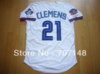 Throwback Jersey Blue Jays #21 Roger Clemens White Color Size:48-56 -Free Shipping