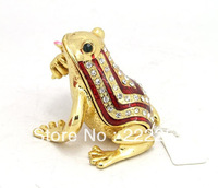 2013 New Design Metal Frog Shape Trinket Box For Retail&Wholesale Free Shipping(C2489)
