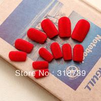 Free shipping, fashion & popular velvet false nail with double-faced adhesive 24 pcs nail art/box