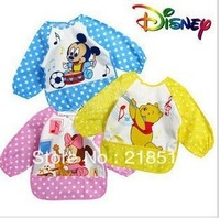 Free Shipping 10pcs/Lot Baby Kids Infant water resist Feeding baby Bibs Apron Art kids Smock shirts D-360