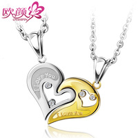 Fashion accessories lovers necklace female heart pendant male lettering