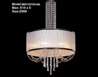 2013 High Round Fabric and crystal shade pendant lamp D50CM 6*E14