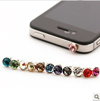 2013 NEW 3.5mm + Diamond Earphone Dustproof Plug Headset Jack Dust Cap For iPhone 4S 4G 1500pcs/lot Free Shipping