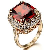 Female Ornament Big Ruby Crystal Rhinestone Ring Index Red Crystal Fashion Trend Luxury 6 Carats Finger Ring