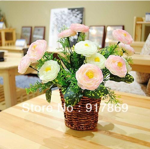 Hot o envio gratuito de sete cabeças de camélia arranjo de flores / flor simulação / seda / fake / piso / o europeu / Pastoral(China (Mainland))