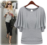 0456 2012 faux two piece elegant slim poncho top