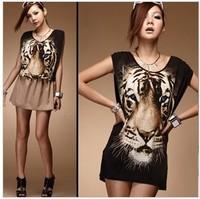 118639 fashion slim vest design female personality tiger print long t-shirt 180