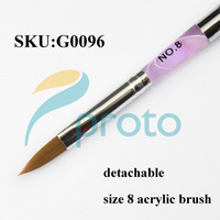 Freeshipping-10pcs/lot Size 8 Acrylic Sable Nail Art Brush Detachable Nail Brushes Pink Marble Wholesales SKU:G0096X