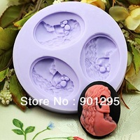 FREE SHIPPING Hot Sale 3 heads Skull Silicone Handmade Soap Mold Baby Candle Candy Jelly Cake Crafts DIY Cake Mold Fondant Tool