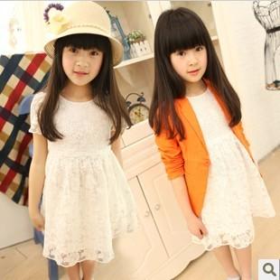 summer 2013 kids lace puff sleeve  dress child princess yarn dress Children's clothing wholesale 5 pcs/lot