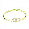 Free shipping Hot sale silver/gold plated jewelry crystal pave evil eye bracelet BL-034
